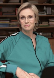 "Sue (Jane Lynch) full-on rocked it in ""Throwdown."""